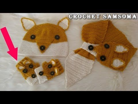 كروشيه قفازات بدون اصابع للاطفال تكملة لطقم الثعلب Crochet Gloves Crochet Crochet Baby Dress Crochet Baby