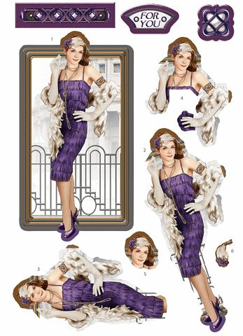 Debbi Moore Designs - Die Cut Art Deco London decoupage toppers - amethyst dress