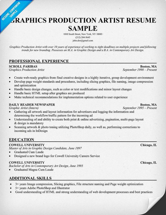 Free Graphics Production Artist Resume Example (resumecompanion - choreographers sample resume