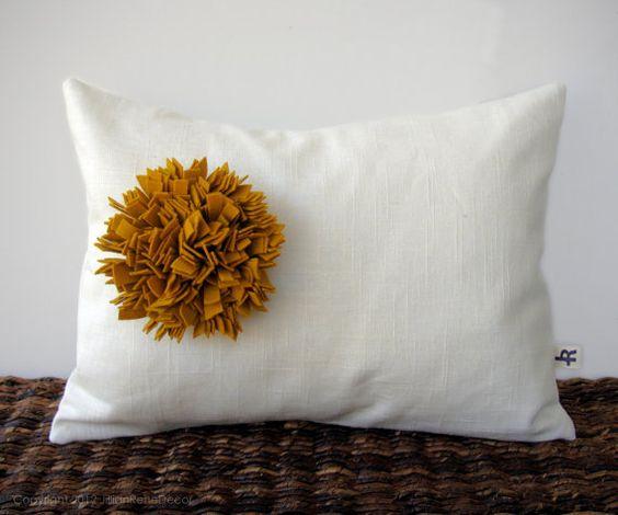 Mustard Yellow Felt Flower Cream Linen 12in x 16in PILLOW COVER by JillianReneDecor