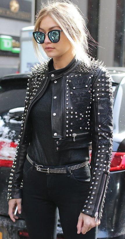 Gigi Hadid in a Diesel Black Gold moto jacket