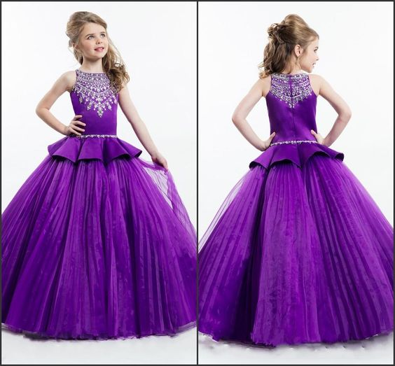 Designer 2016 Rachel Allan Pageant Dresses Girls Purple Color ...