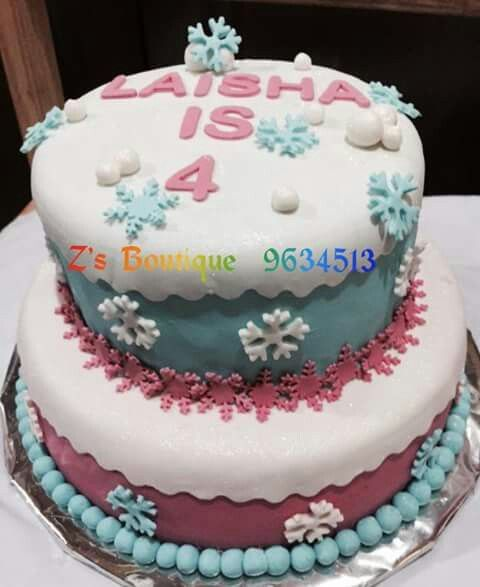 Pink and blue frozen theme Cake
