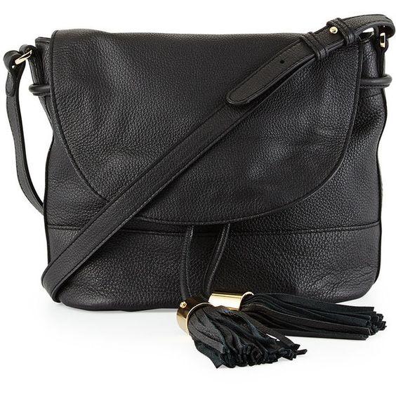 See by Chloe Vicki Vachetta Leather Crossbody Bag ($425) ❤ liked on Polyvore featuring bags, handbags, shoulder bags, black, tassel purse, crossbody shoulder bags, black shoulder bag, black crossbody handbag and drawstring purse