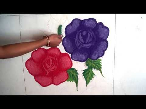Simple Rose Flower Rangoli Designs Beautiful Rose Flower Rangoli Flower Rangoli Rangoli Designs Rangoli Designs Flower