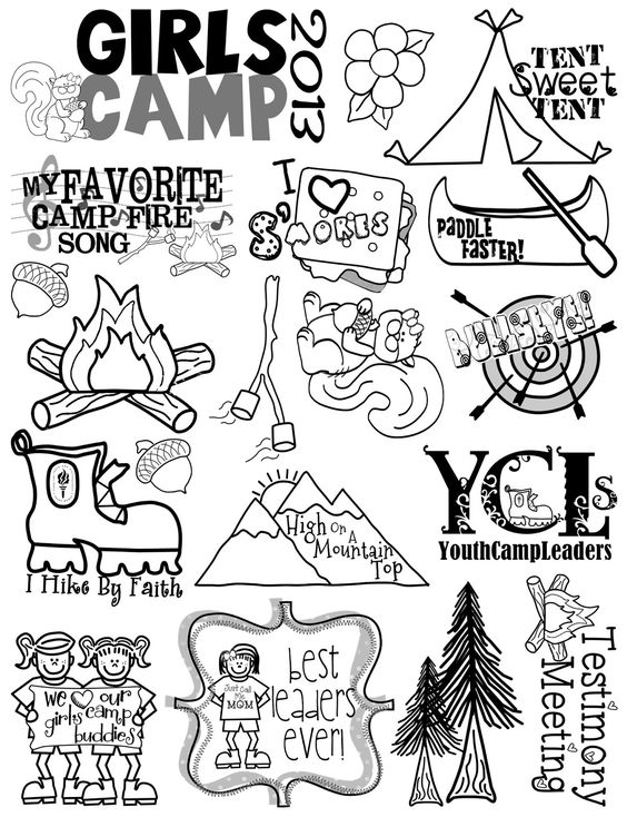 i have been working feverishly on this sheet of clipart for girls camp i am not an illustrator so this little sheet was quite a job fo