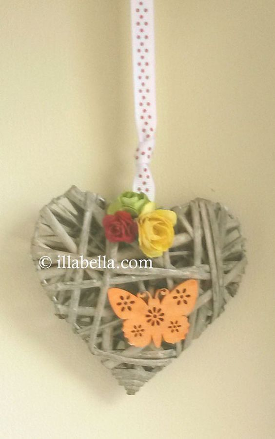 Floral Wicker Heart  Rustic Decoration  Wall Hanging by illabella