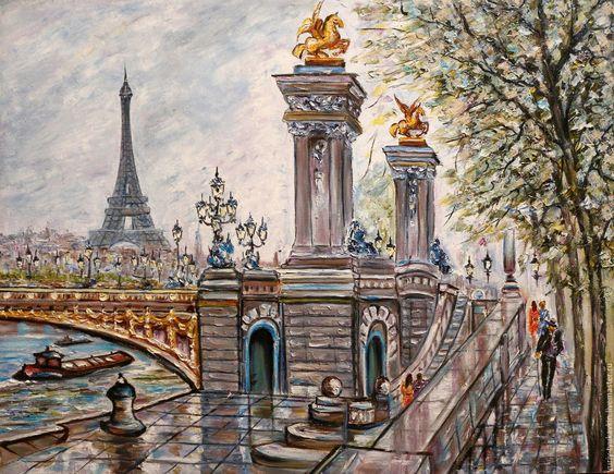 "Купить "" Мост Александра III "" - серый, большая картина, огромная картина"