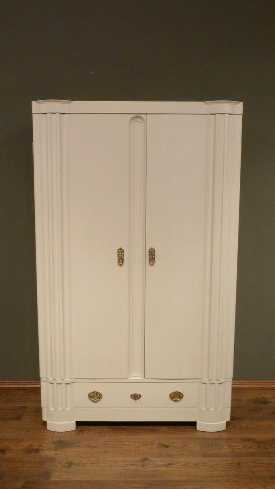 Sehr Eleganter Art Deco Kleiderschrank Mahagoni Weiss Lasiert Um