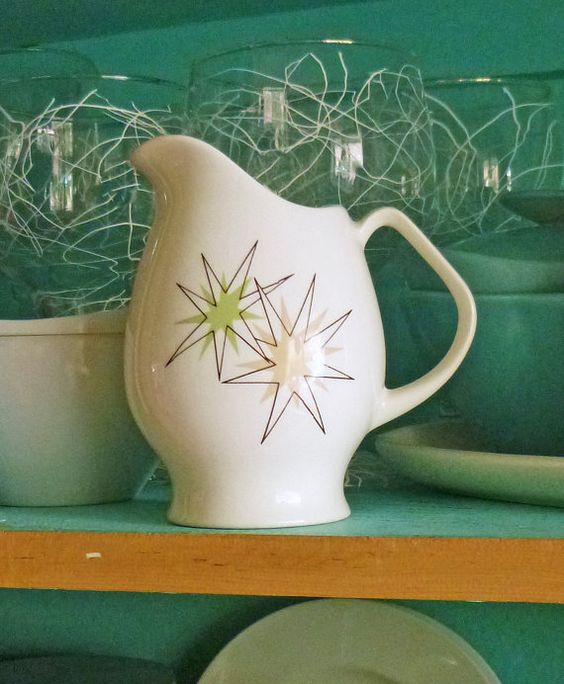 """1950's Atomic  """"Starlite"""" by Steubenville Creamer with spliiting atoms"""