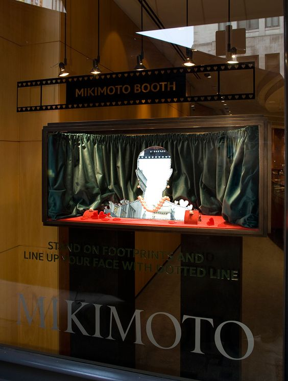 Mikimoto Window Display for Valentine's Day by #propstudios #mirror #visualmerchandising Bespoke Window Displays, Mikimoto Booth