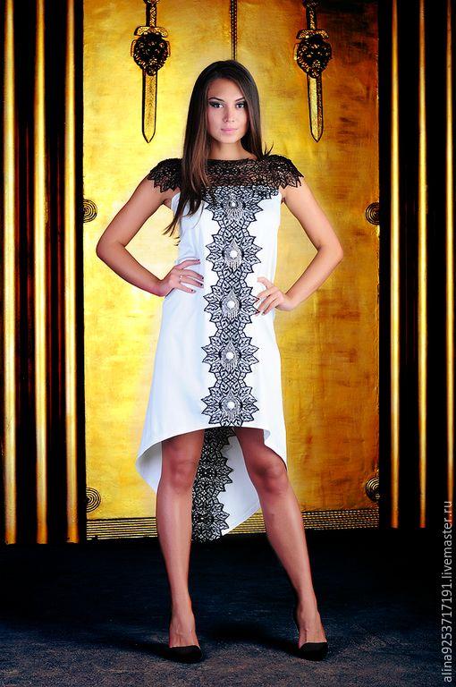 Купить вечернее платье в этническом стиле - белый, белое платье, вечернее платье, коктельное платье