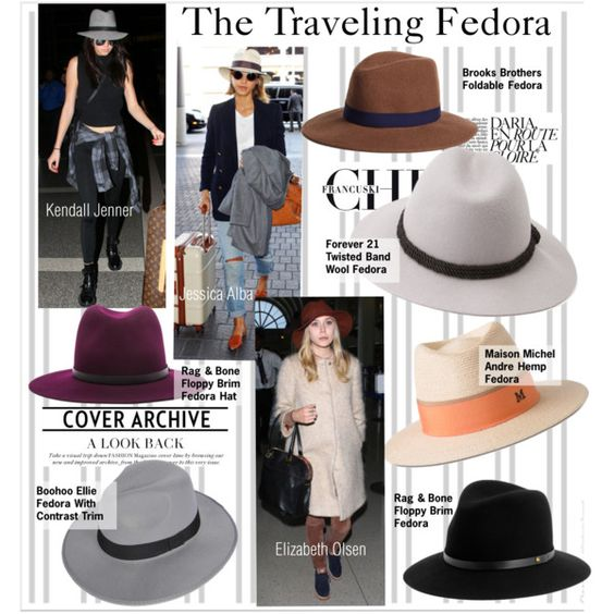 The Traveling Fedora by kusja on Polyvore featuring Forever 21, Boohoo, Maison Michel, rag & bone, Brooks Brothers, Fedora, trend and celebstyle