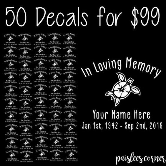 In Loving Memory Car Window Decal Sticker High by PaisleesCorner