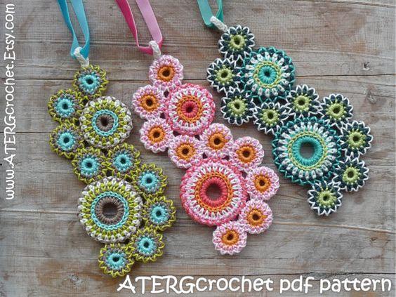 Ganchillo patrón collar 'círculos de la vida' por por ATERGcrochet