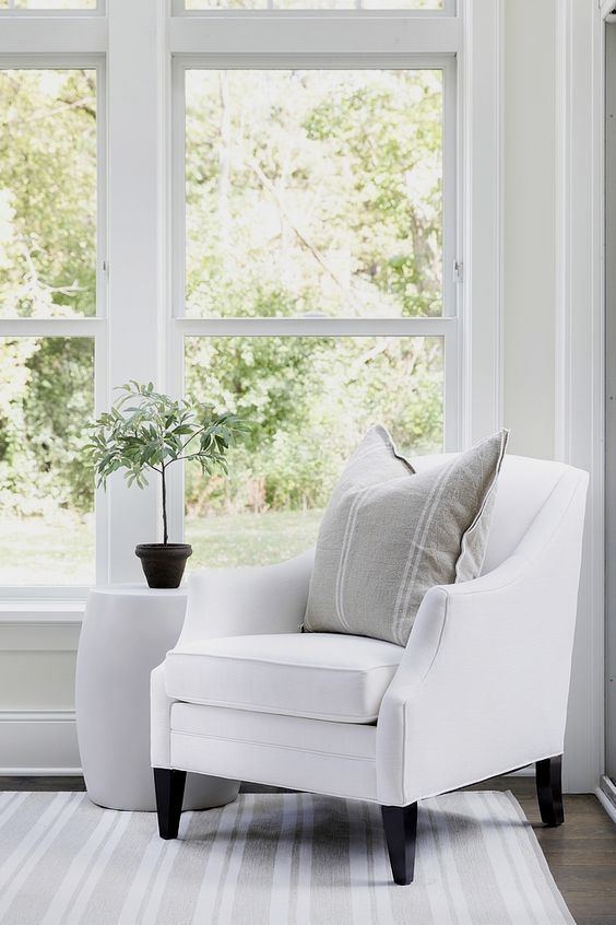 White Accent Chair With Farmhouse Pillow And White And Grey