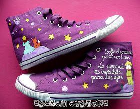 """Esencia Custome: Zapatillas personalizadas - Custom sneakers: Zapatillas """"Lo esencial es invisible a los ojos"""""""