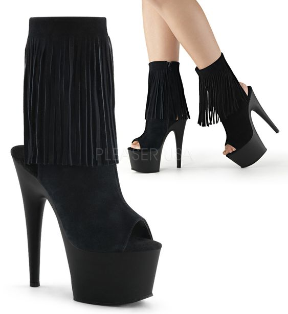 Pleaser Adore Platform Open Toe/Heel Ankle Boot Black | Pleaser ...