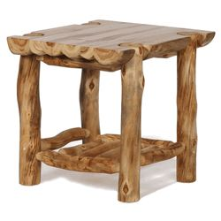 Colorado Aspen Log Furniture - Half-Log End Table Log End Tables Colorado Aspen Half Log End Table For an even bolder statement for your rustic log