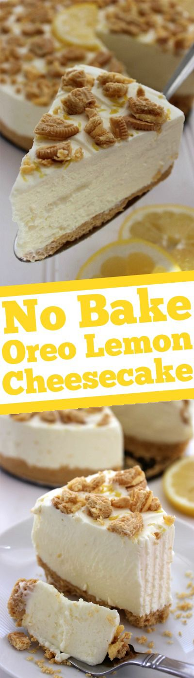 No Bake Oreo Lemon Cheesecake Dessert Recipe via Cincy Shopper - Super simple with no baking involved, great for spring and summer parties or celebrations.