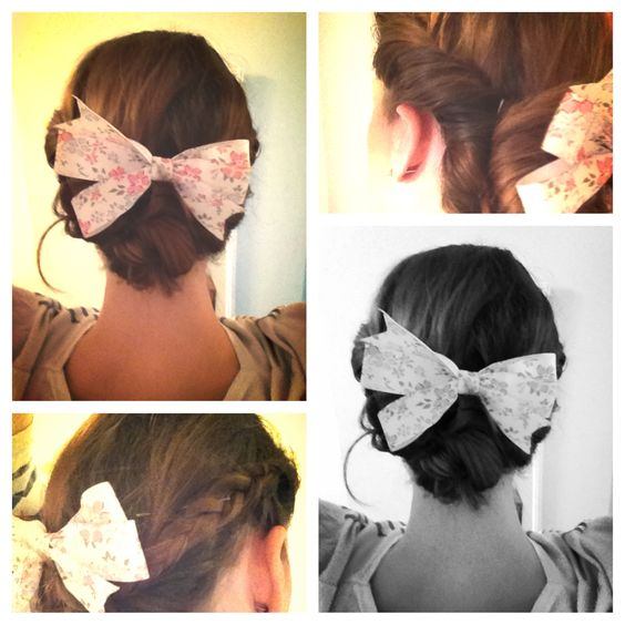 One loose hair. Otherwise pretty happy; braid on one side, twist on the other. #bow #floral #updo
