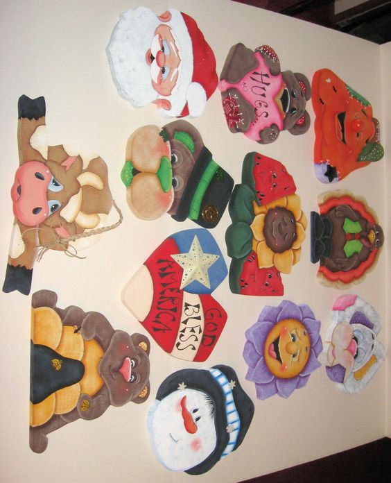 12 different tole_painted wood cookie/candy jar lids