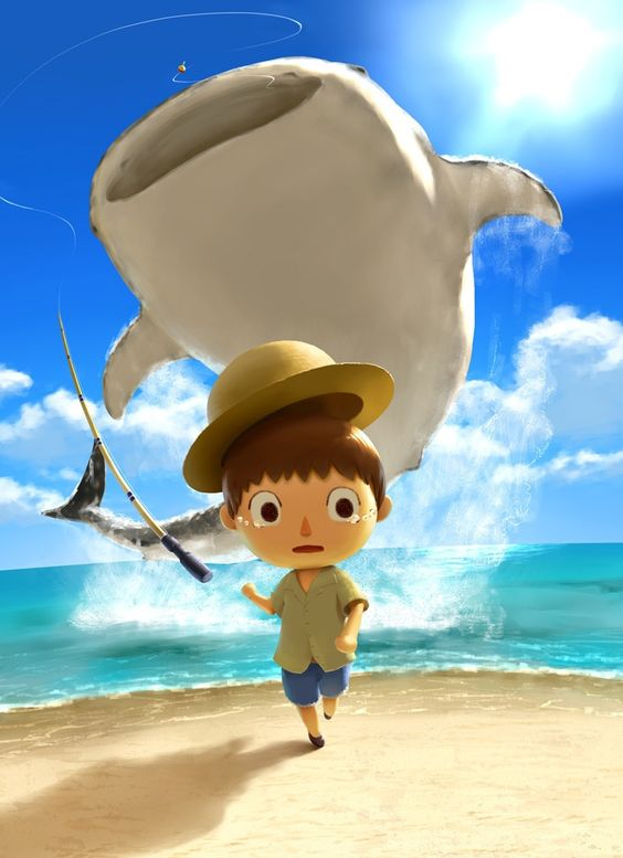 """Animal Crossing - catching a whale shark. That villagers like """"OH SHI-"""""""