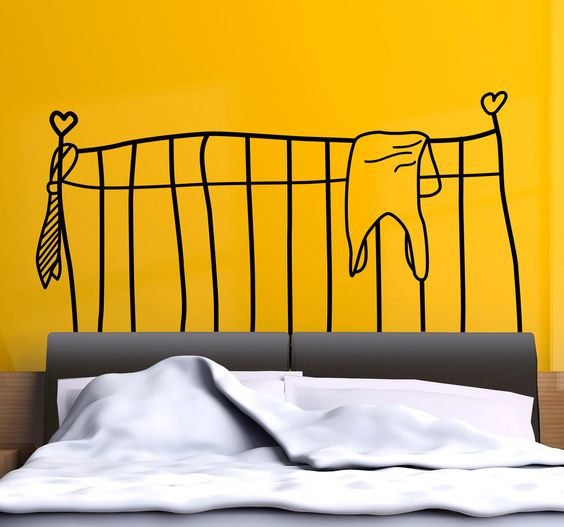 Headboards - Original and distinctive decoration feature above your bed. Illustration themed wall sticker available in 50 colours and various sizes.   #stickers #headboards #original #bedroom #decoration #bed #monochrome #home #tenstickers