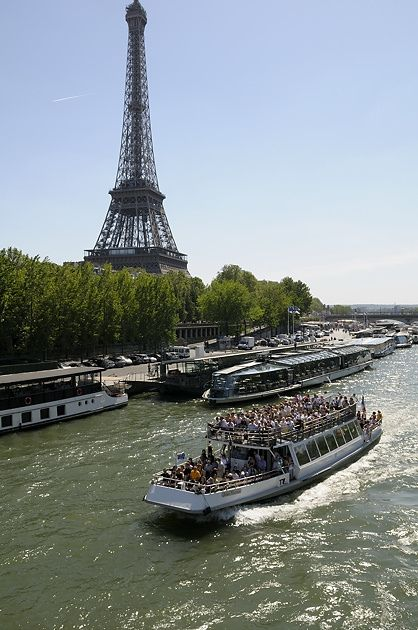 Seine River near the Eiffel Tower, Paris France - we went on one of these boat tours, but at night.