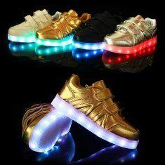 Niños LED zapatos ligeros zapatos de cuero de las zapatillas de deporte ocasionales chico niñas nuevas