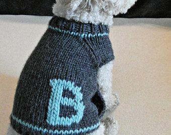 Ropa para perros tejido mano - suéter de perro con monograma - personalizada Jersey para mascotas - ropa para perros hechos a mano - ropa del animal doméstico de BubaDog