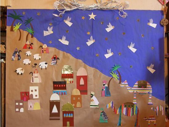 Nativity scene mural christmas bulletin board idea for Scene ideas