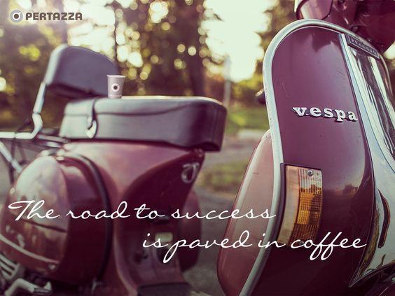 """The road to success is paved in coffee""...  Authentiek Italiaanse koffie op kantoor? Haal Buscaglione #koffie naar de werkvloer met het unieke all-in prijs per kop concept van PerTazza. www.pertazza.nl   #Coffee #meme #quotes"