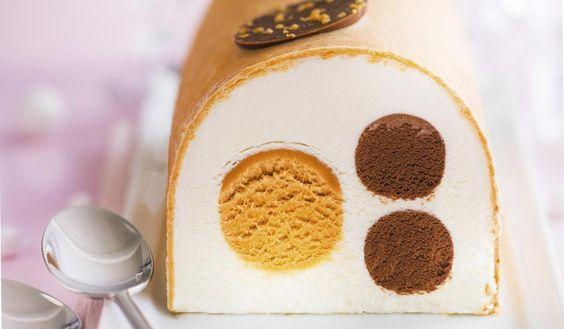 Bûche glacée vanille, chocolat, caramel, 8 parts surgelés - Les glaces