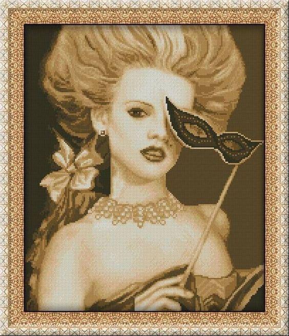 0 point de croix femme et masque - cross stitch woman and mask