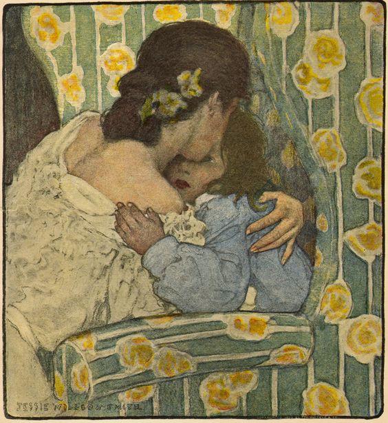 Mother Hugging Her Little Boy - 1903 Original Jessie Willcox Smith Print