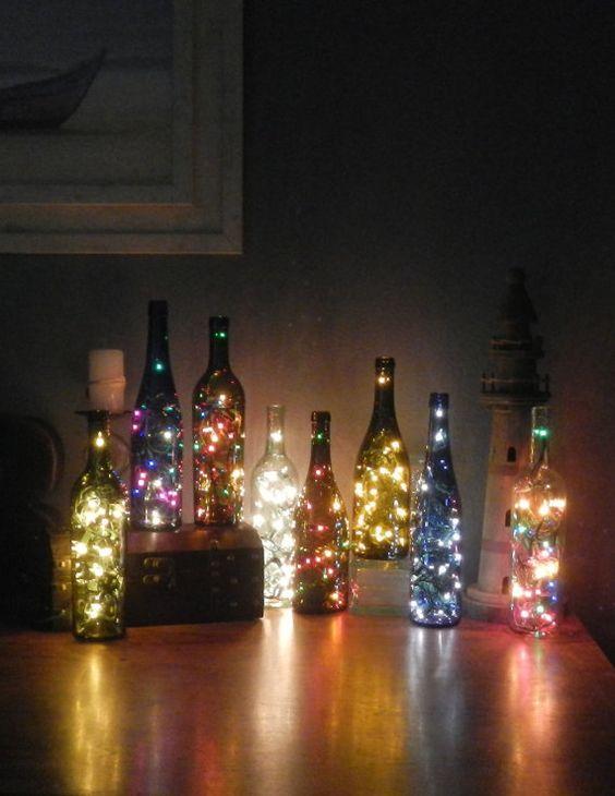 Wine bottles, Light string and Bottle on Pinterest