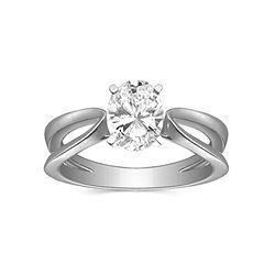 Solitaire Engagement Ring with [OV100JI11V106] 1.00 Carat Oval Shape IGI Certified Diamond