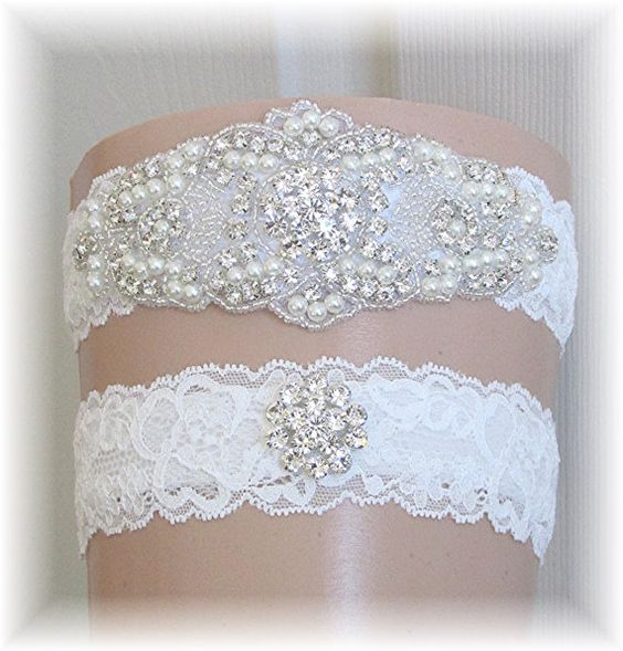 Wedding Garter Bridal Garter Set Vintage Style Keepsake and Toss Set Light Ivory Lace with Crystal Rhinestone Applique