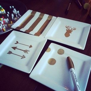 ceramic + sharpies = simple DIY gifts. Dollar store?: