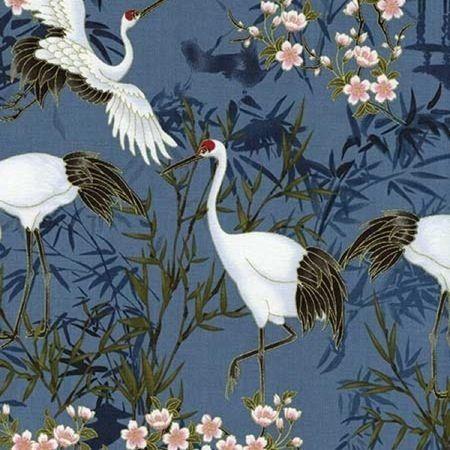 Timeless Treasures Kabuki Blue Tancho Cranes