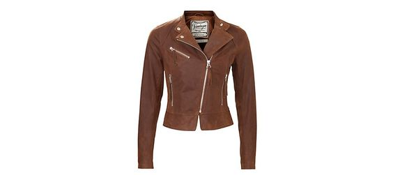 New Look Warm Brown Leather Biker Jacket - score!