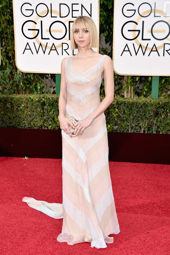 2016 Golden Globes Red Carpet -Zoe Kazan opts for a geometric tri-color pastel chiffon V-neck dress by Miu Miu #MiuMiuCelebs