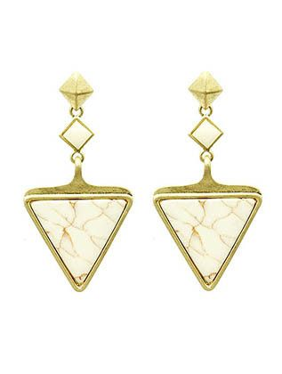 White Stone Triangle Earrings from Helen's Jewels