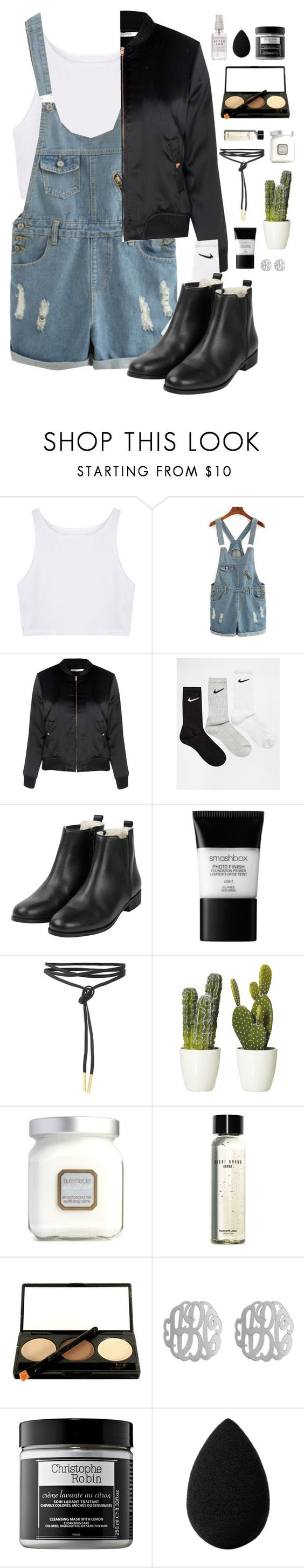 """Hint of green"" by preppysoutherners ❤ liked on Polyvore featuring Glamorous, NIKE, Smashbox, Laura Mercier, Bobbi Brown Cosmetics, Initial Reaction, Christophe Robin, beautyblender and Herbivore"