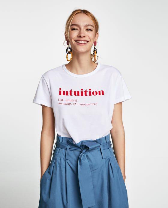 t shirt message femme zara