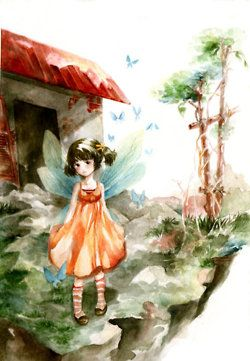 """""""fly by wantou"""" water color"""