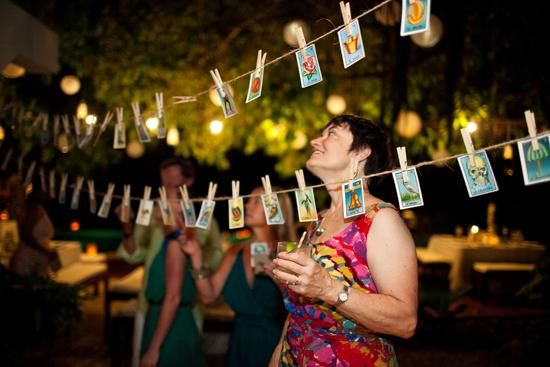 Mexican lottery cards as place cards