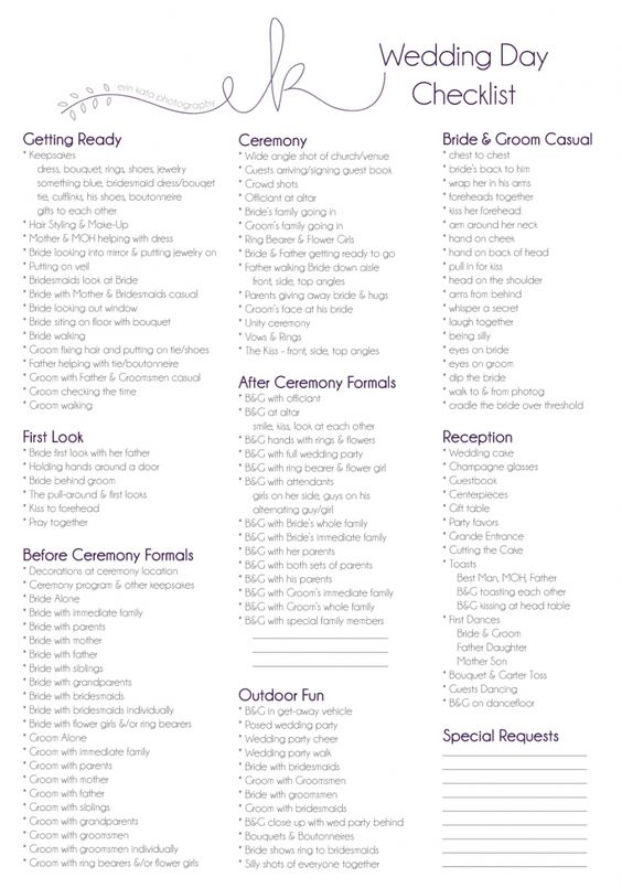 Best 25 Wedding Day Checklist Ideas On Pinterest Photo List For And Picture
