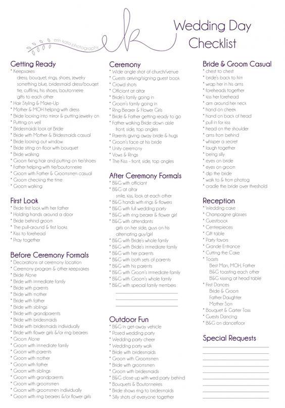 Wedding Day Checklist. Erin Kata Photography. Wedding Portraits Checklist. Wedding Photography Checklist.